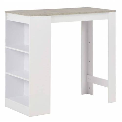 Elior Stolik barowy z półkami Gabriel – biały i betonowy