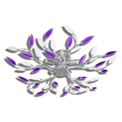 Lumes Fioletowa lampa sufitowa z motywem roślinnym - E996-Gardena