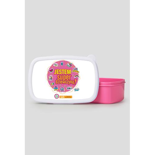 sklepsuperdziewczyn Pudełko śniadaniowe/ lunch box różowy jestem superdziewczyną! kolor