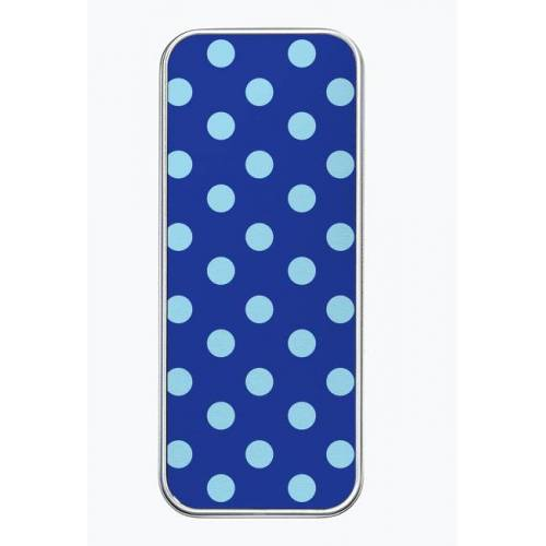 swojskiewzory Piórnik aluminiowy - niebieskie grochy