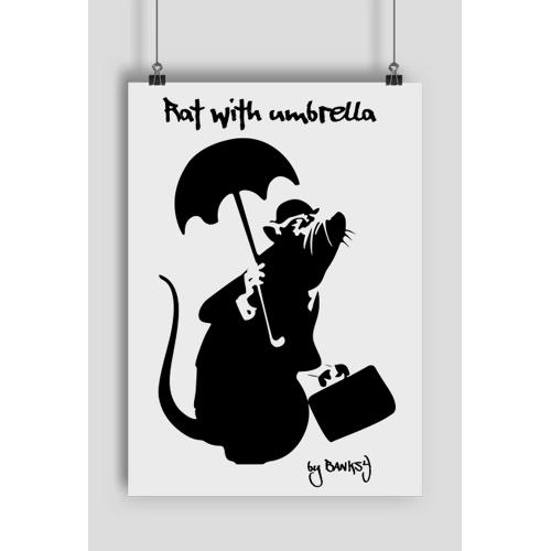 artverde Plakat rat with umbrella a2