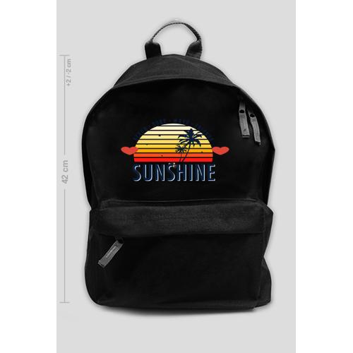 Fajneciuchyy Czarny plecak z ciepłymi barwami