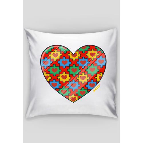 dudle Serce puzzle - poszewka dekoracyjna na poduszkę jaśka