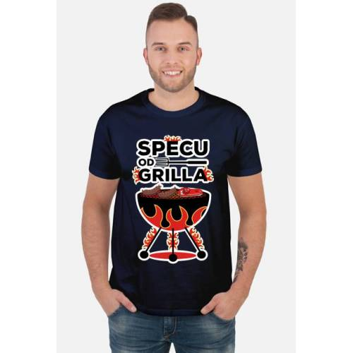 dudle Specu od grilla - koszulka męska granatowa