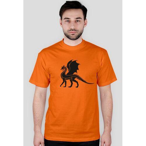 coolstylebest Koszulka z dużym nadrukiem czarnego smoka