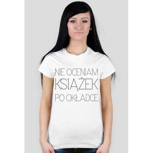 koszulkiksiazkowe Nie oceniam książek... bez okularów t-shirt biały damski