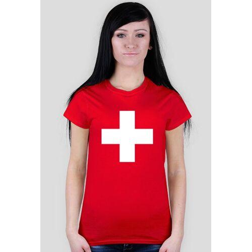 koszulka-flaga Flaga szwajcarii -  koszulka damska