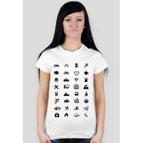koszulkapodroznika Koszulka podróżnika z 34 ikonami do podróży