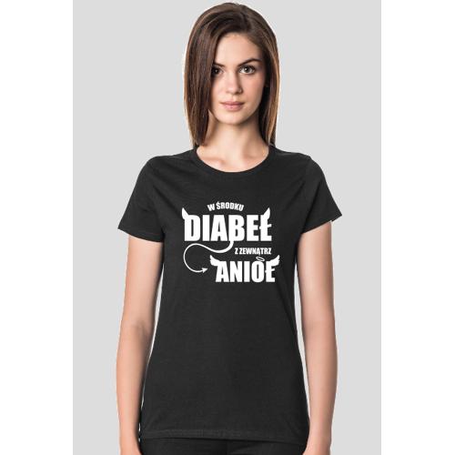 odlotowe-wzory Koszulka damska ciemna - w środku diabeł z zewnatrz anioł