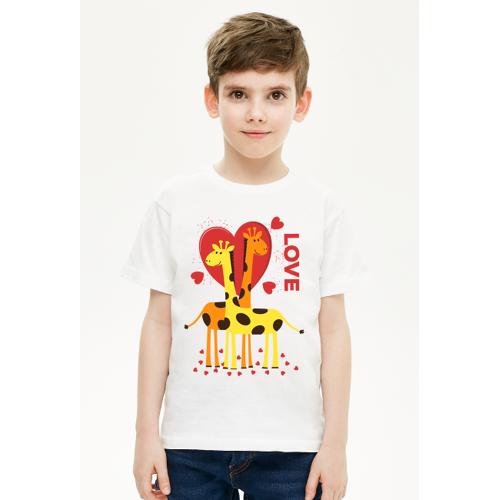 przeslaniec Zakochane żyrafy - biała koszulka dziecięca