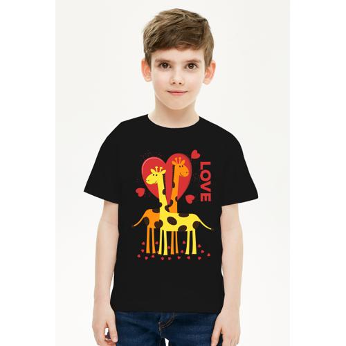 przeslaniec Zakochane żyrafy - czarna koszulka dziecięca