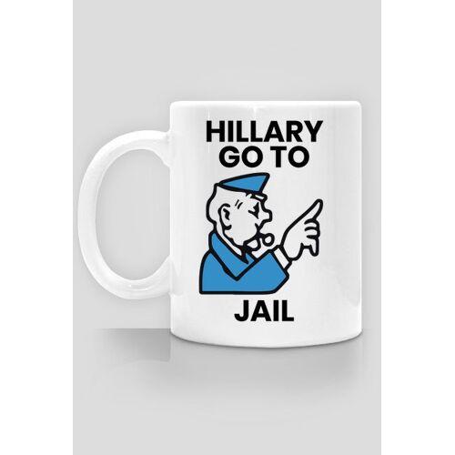 PolitycznePieklo śmieszny kubek, polityczna parodia - hillary go to jail