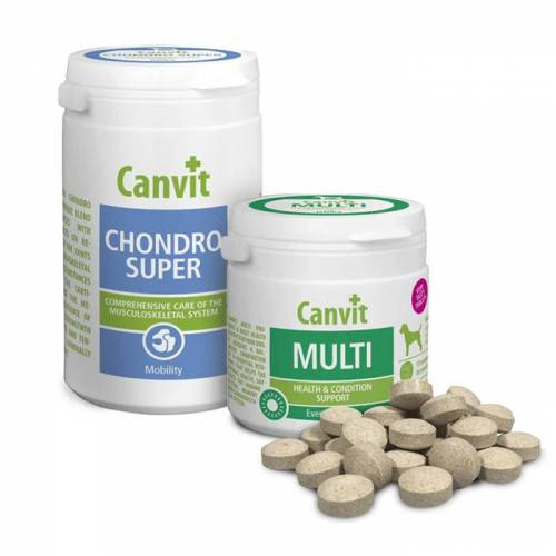 Canvit Chondro Super For Dogs tabl. 230g + Canvit Multi tabl.100g