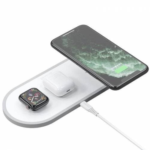 Dudao 3w1 ładowarka bezprzewodowa Qi do telefonu / słuchawek AirPods / Apple Watch 38mm biały (A11 white)