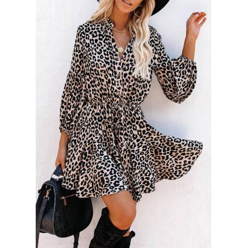 Fairyseason Leopard Ruffled Elastic Cuff Button Mini Dress