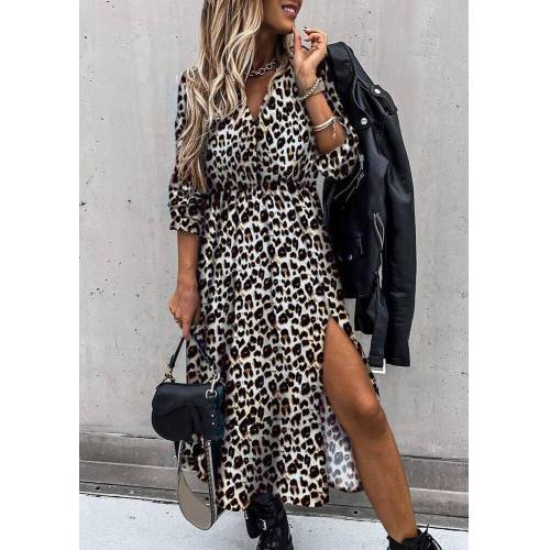 Fairyseason Leopard Ruffled Slit Elastic Cuff Casual Dress