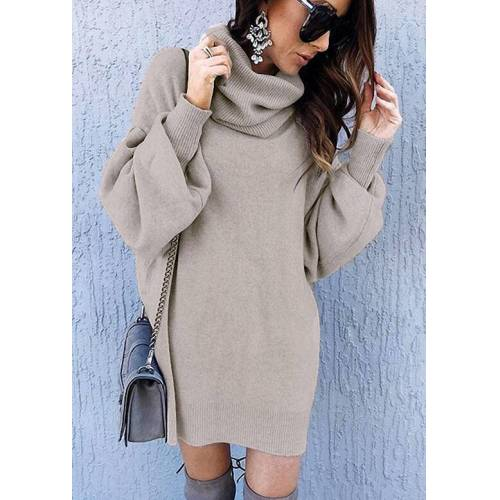 Fairyseason Turtleneck Elastic Cuff Sweater Mini Dress - Gray