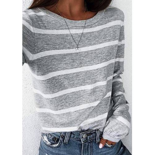Fairyseason Striped Elastic Cuff O-Neck Blouse - Gray