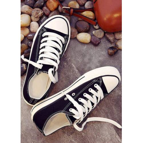 Fairyseason Solid Lace Up Canvas Sneakers
