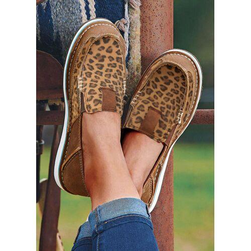 Fairyseason Leopard Splicing Flat Canvas Sneakers
