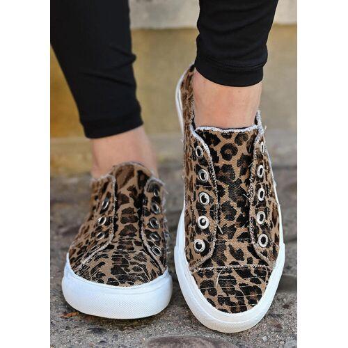 Fairyseason Leopard Slip On Flat Canvas Sneakers