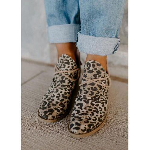 Fairyseason Leopard Chunky Heel Canvas Boots