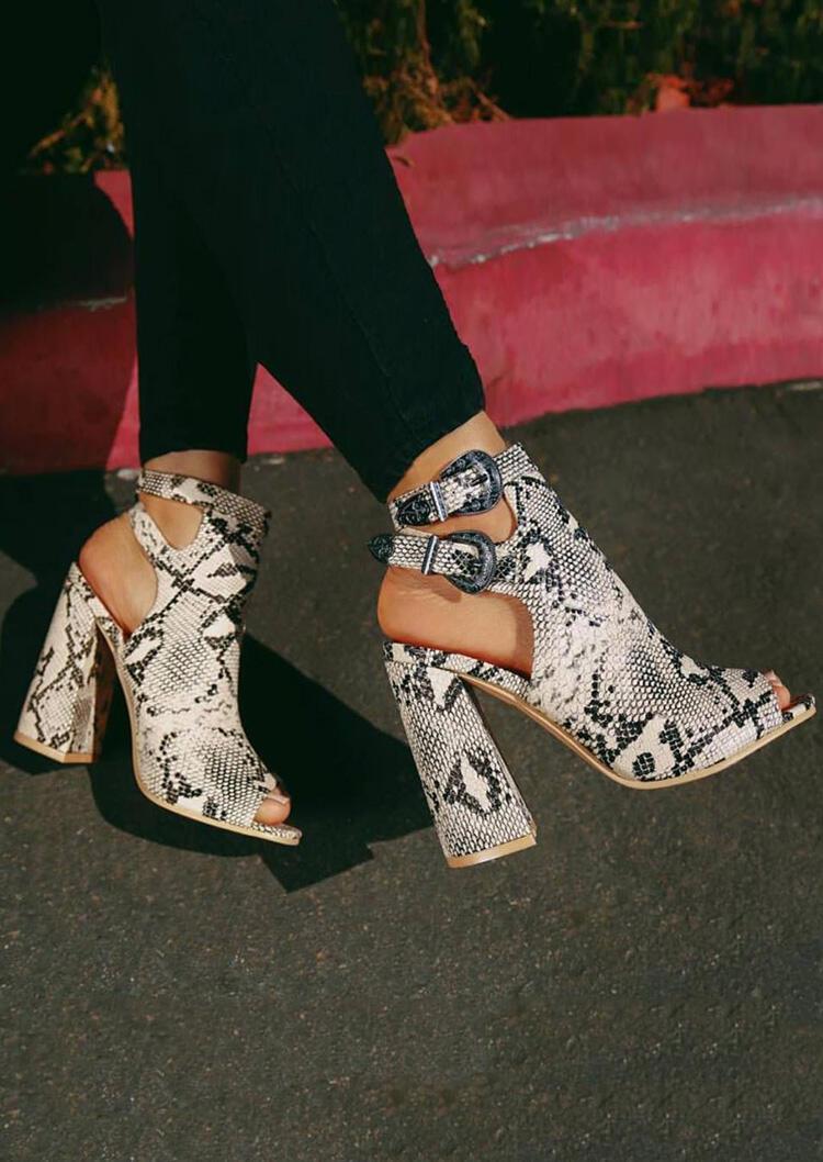 Fairyseason Snake Skin Printed Hollow Out Heeled Sandals