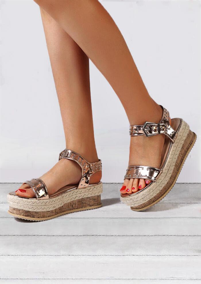 Fairyseason Ankle Strap Buckle Platform Sandals