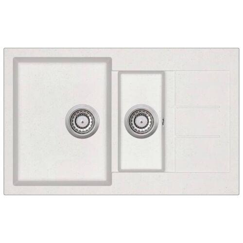 377936VLDF Granitowy zlewozmywak dwukomorowy, biały