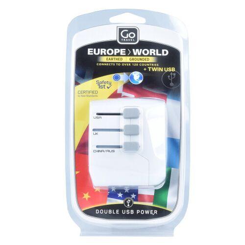 Go Travel Europe-World Adaptery podróżne weltweit USB 6 cm weiss  - biały - Damy,Unisex - Dorośli,Mężczyźni