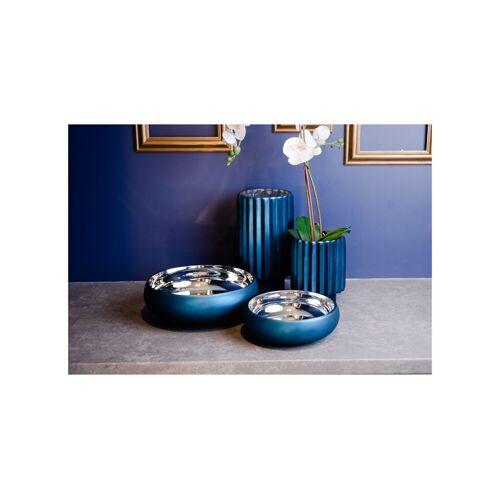 Półmisek szklany granatowy mat + srebro Home Decoration Glassmous 30 cm