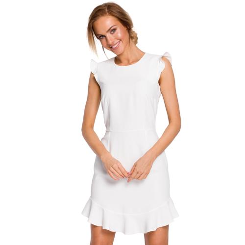 Moe Koktajlowa sukienka mini z falbanką u dołu - Beżowy - rozmiar: Small