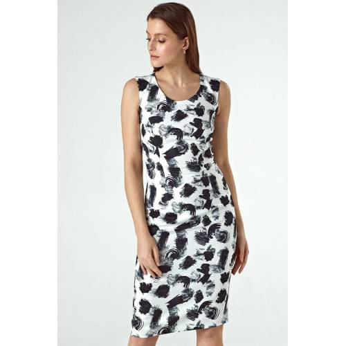Colett Elegancka dopasowana sukienka we wzory - Biały - rozmiar: 36