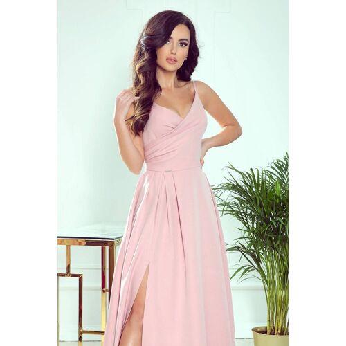Numoco Zjawiskowa długa suknia wieczorowa na ramiączkach - Różowy - rozmiar: Small