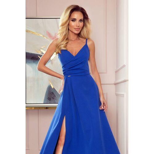 Numoco Zjawiskowa długa suknia wieczorowa na ramiączkach - Niebieski - rozmiar: Medium