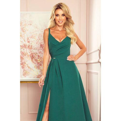 Numoco Zjawiskowa długa suknia wieczorowa na ramiączkach - Zielony - rozmiar: Small