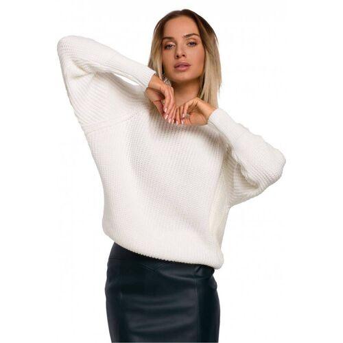 Moe Miękki i ciepły sweter ze splotem w prążek - Beżowy - rozmiar: Small
