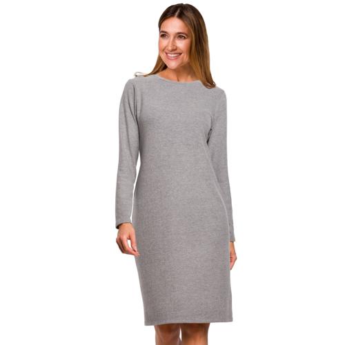 Style Prosta sukienka z gładkiej bawełnianej dzianiny - Szary - rozmiar: 2X-Large