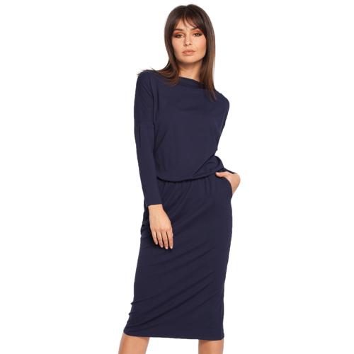 BE Sukienka o klasycznym kroju efektowny dekolt woda - Granatowy - rozmiar: Small