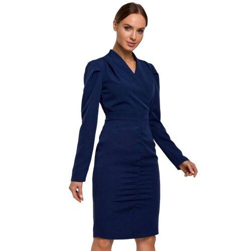 Moe Kopertowa sukienka midi z efektownymi marszczeniami - Granatowy - rozmiar: Small