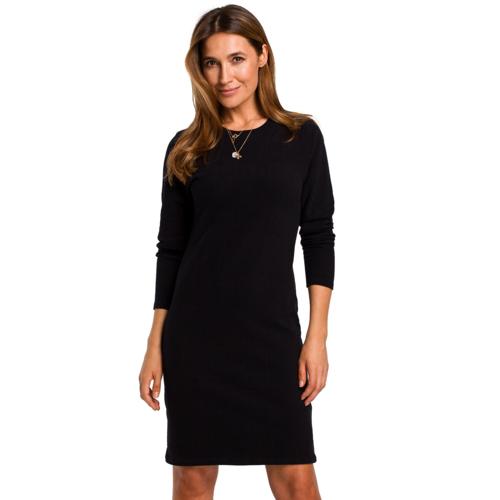 Style Prosta sukienka z gładkiej bawełnianej dzianiny - Czarny - rozmiar: Large