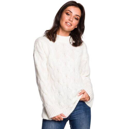 BE Knit Ciepły sweter z wełną splot typu warkocz - Beżowy - rozmiar: Large