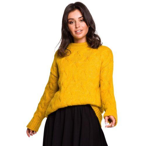 BE Knit Ciepły sweter z wełną splot typu warkocz - Żółty - rozmiar: Small