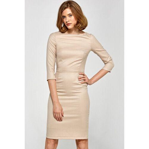 Colett Elegancka dopasowana sukienka midi - Beżowy - rozmiar: 42