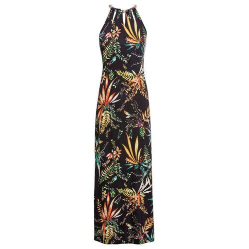 bonprix Długa sukienka bonprix czarny w roślinny wzór - Size: 48/50