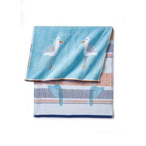 bonprix Ręczniki z motywem mew bonprix niebieski - Size: Ręcznik kąpielowy (70/140 cm);Ręczniki 2 szt. (50/100 cm);Ręczniki dla gości 4 szt. (30/50 cm)