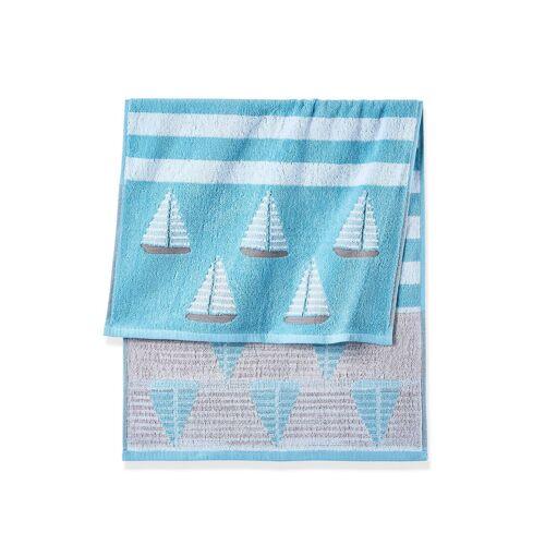 bonprix Ręczniki z motywem żaglówek bonprix niebieski - Size: Ręcznik kąpielowy (70/140 cm);Ręczniki 2 szt. (50/100 cm);Ręczniki dla gości 4 szt. (30/50 cm)
