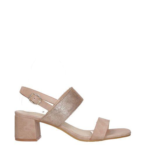 Greenpoint Różowe sandały z błyszczącym paskiem