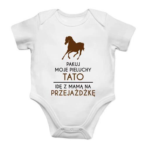 [Koszulkowy.pl] Pakuj moje pieluchy tato - konie - body dziecięce z nadrukiem