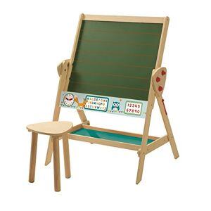 roba tablica i zestaw do siedzenia dla dzieci, tablica do pisania dla dzieci, tablica do pisania w linie, zegar, ABC, cyfry i póka, drewno naturalne